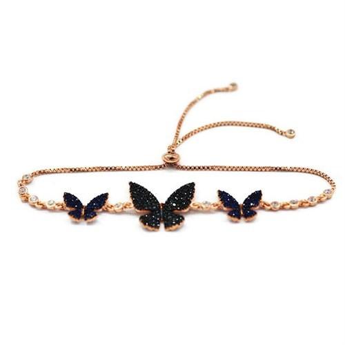 Beyazıt Takı 925 Ayar Gümüş Mavi Siyah Taşlı Kelebek Bileklik
