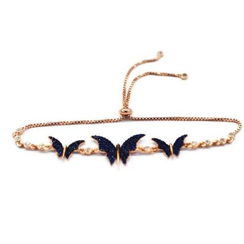 Beyazıt Takı 925 Ayar Gümüş Mavi Taşlı Kelebek Bileklik