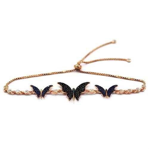 Beyazıt Takı 925 Ayar Gümüş Siyah Mavi Taşlı Kelebek Bileklik