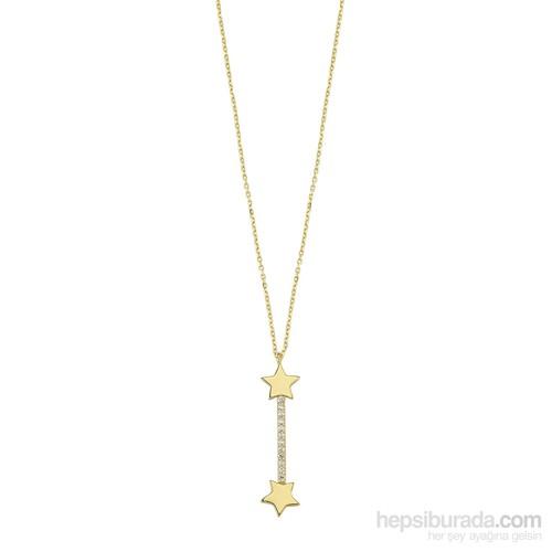 Koçak Gold 14 Ayar Sarı Altın Taşlı Yıldız Kolye