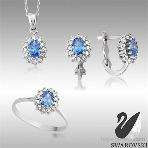Sheamor Zirkon Mavi Renkli Taş Göz Üçlü Set