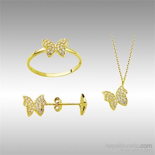 Sheamor Kelebek Taşlı Altın Set