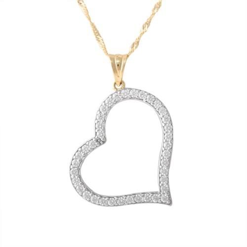 AltınSepeti Taşlı Altın Kalp Kolye AS342KL