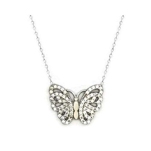 Beyazıt Takı 925 Ayar Gümüş Beyaz Kalp Kanatlı Kelebek Kolyesi