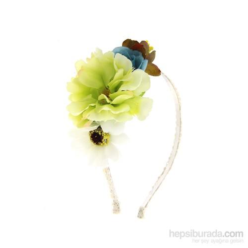 Chiccy Özel Tasarım Beyaz Yeşil Çiçekli Taç