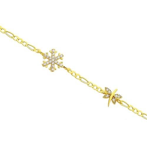 Melis Gold Altın Kartanesi ve Kelebekli Bileklik