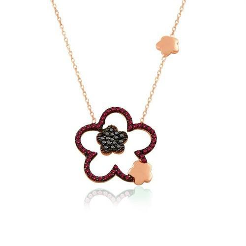 İndigo Takı Ruby Taş Çiçek Gümüş Kolye