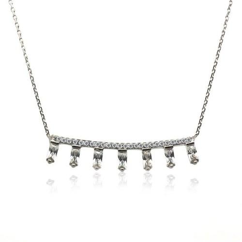 İndigo Takı Bagetli Yatay Çubuk Gümüş Kolye