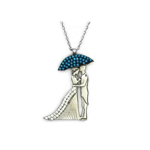 Beyazıt Takı 925 Ayar Gümüş Turkuaz Şemsiyeli Gelin Damat Kolyesi