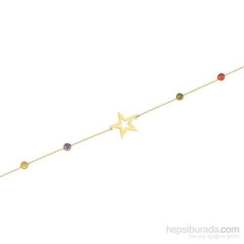 Glorria 14 Ayar Altın Renkli Taşlı Yıldız Bileklik