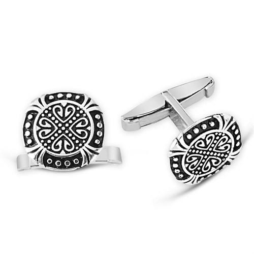 Tesbihane Motifli 925 Ayar Gümüş Kol Düğmesi