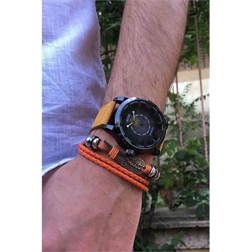 Piamen Saat Ve Deri Bileklik Kombin