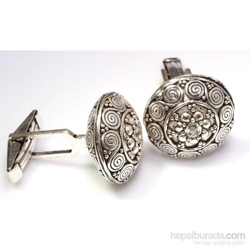 Nusrettaki 925 Ayar Gümüş Lava Desenli Elişi Kol Düğmesi