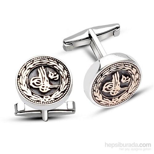 Tesbihane 925 Ayar Gümüş Çiçek Desenli Tuğra Model Kol Düğmesi