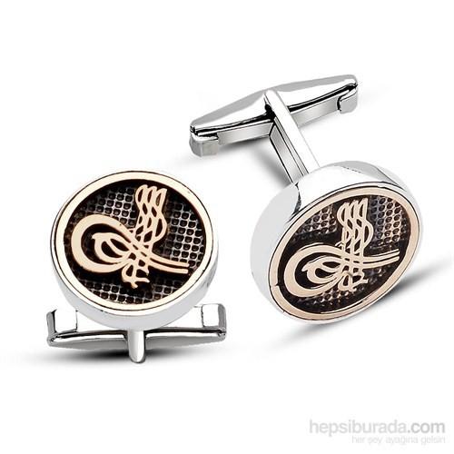 Tesbihane 925 Ayar Gümüş Tuğra Dolu Kol Düğmesi