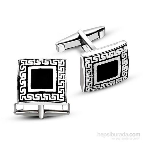 Tesbihane 925 Ayar Gümüş Oniks Taşlı Sade Kare Kol Düğmesi