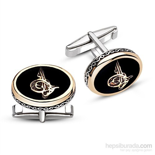 Tesbihane 925 Ayar Gümüş Oniks Taşlı Tuğra Model Kol Düğmesi