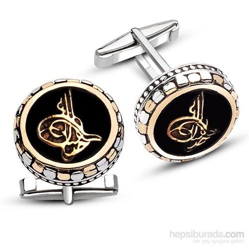 Tesbihane 925 Ayar Gümüş Oniks Üzerine Tuğralı Kol Düğmesi