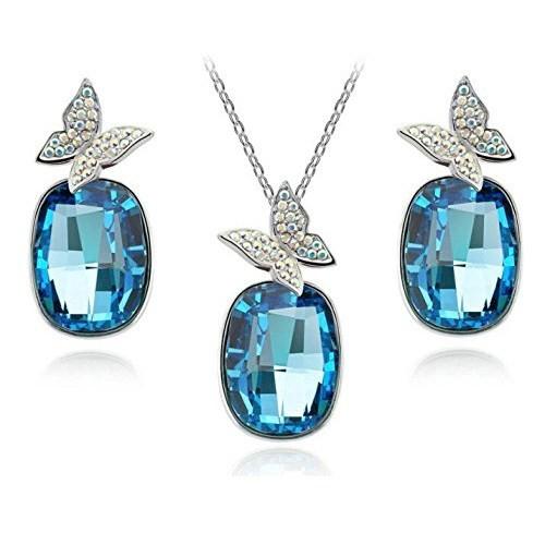 Modakedi Mavi Kristal Taşlı Kelebek Figürlü Kadın Takı Seti