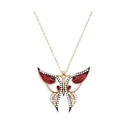 Beyazıt Takı Güneşin Kızları Kelebek Kolyesi Rose Beyaz