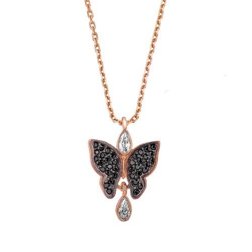 Beyazıt Takı 925 Ayar Gümüş Siyah Taşlı Kelebek Kolye