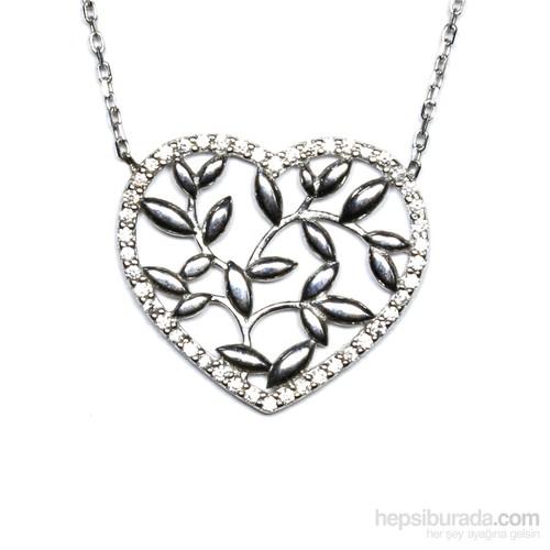 Zirkon Taşlı Gümüş Kolye Kalpli Yaprak T029