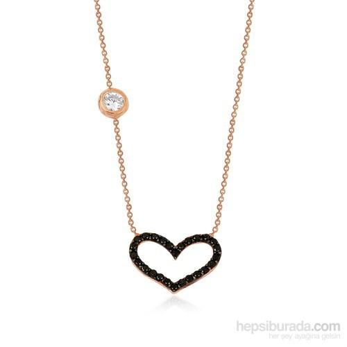 Altınsepeti Gümüş Siyah Taşlı Kalp Kolye G414kl