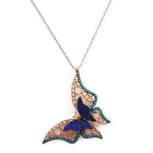 Beyazıt Takı 925 Ayar Gümüş Turkuaz Mavi Üç Boyutlu Fantazi Taşlı Kelebek Kolyesi