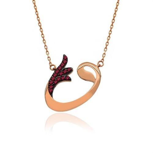 İndigo Takı Ruby Taş Lale Vav Gümüş Kolye