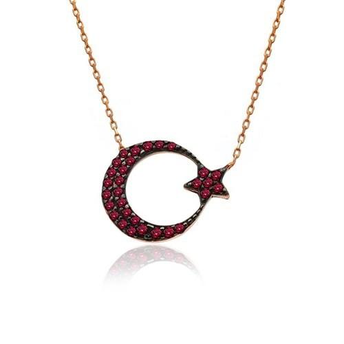 İndigo Takı Kırmızı Ay Yıldız Gümüş Kolye