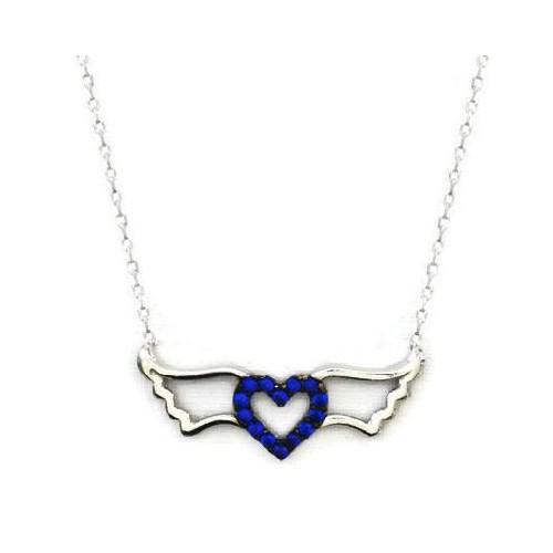 Beyazıt Takı 925 Ayar Gümüş Mavi Kanatlı Kalp Kolyesi
