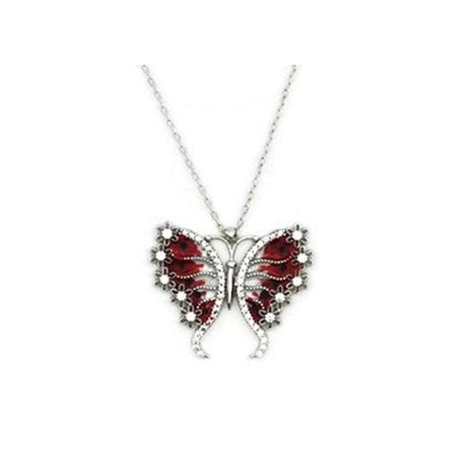 Beyazıt Takı 925 Ayar Gümüş Beyaz Kırmızı Çiçek Kanatlı Kelebek Kolyesi