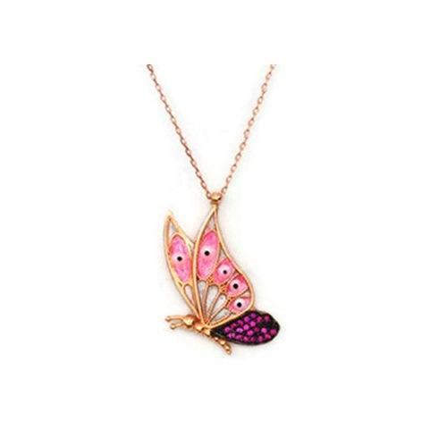 Beyazıt Takı 925 Ayar Gümüş Pembe Taşlı Kelebek Kolyesi