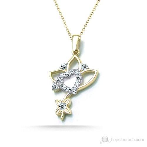 Jessini Kalp Çiçeği Altın Kolye