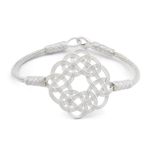 Tesbihane 1000 Ayar Gümüş Beyaz Kazaz El Örmesi Bileklik-2