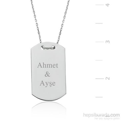Gumush Gümüş İsim Yazılabilen Künye Kolye