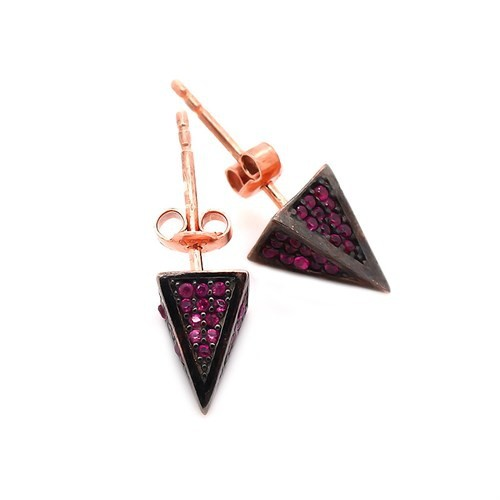 İndigo Üçgen Piramit Çivili Gümüş Küpe
