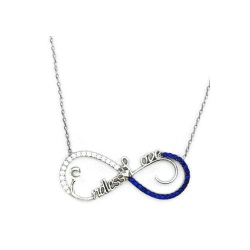 Beyazıt Takı 925 Ayar Gümüş Mavi Taşlı Sonsuz Aşk Kolyesi