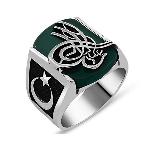 Tesbihane 925 Ayar Gümüş Yeşil Akik Taşlı Tuğralı Yüzük