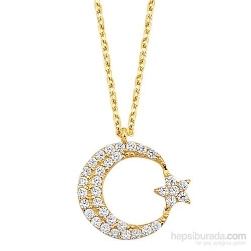 Melis Gold Altın Ay Yıldız Kolye Kly00767