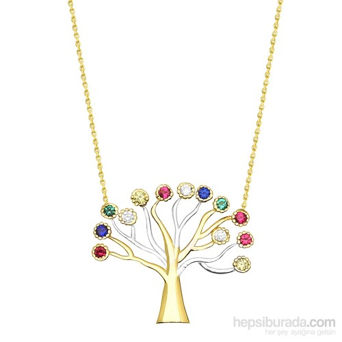 Melis Gold Altın Renkli Taşlı Ağaç Kolye Kly00839