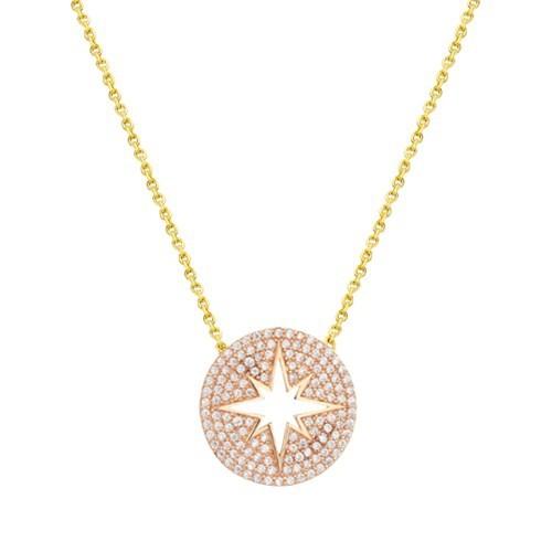 Melis Gold Altın Taşlı Yıldız Kolye Kly00917