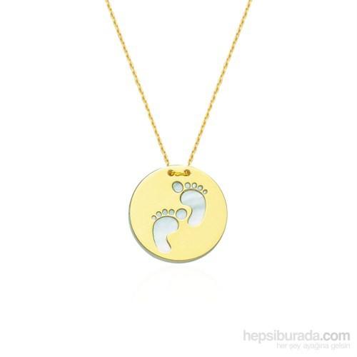 Glorria 14 Ayar Altın Sedefli Bebek Ayak İzi Kolye