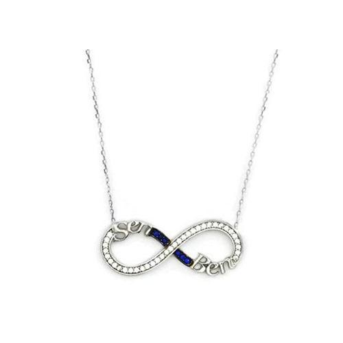 Beyazıt Takı 925 Ayar Gümüş Mavi Sen Ben Yazılı Sonsuzluk Kolyesi