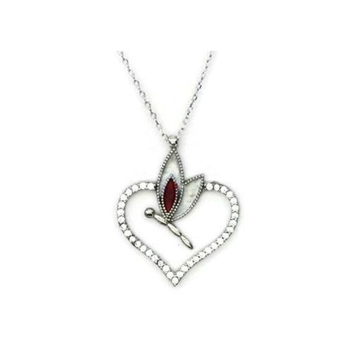 Beyazıt Takı 925 Ayar Gümüş Beyaz Kalpli Yusufçuk Kolyesi