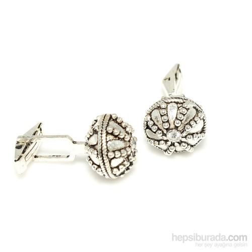 Nusrettaki 925 Ayar Gümüş Desenli Yuvarlak Kol Düğmesi