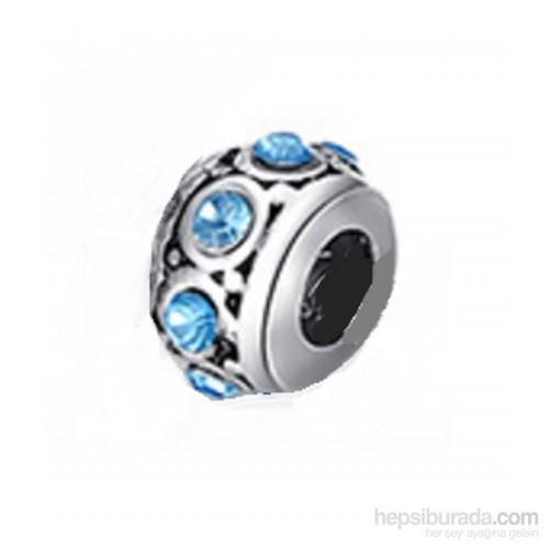 Modakedi Mavi Kristal Yuvarlak Tasarım Gümüş Charm İle Kendi Tarzını Yarat