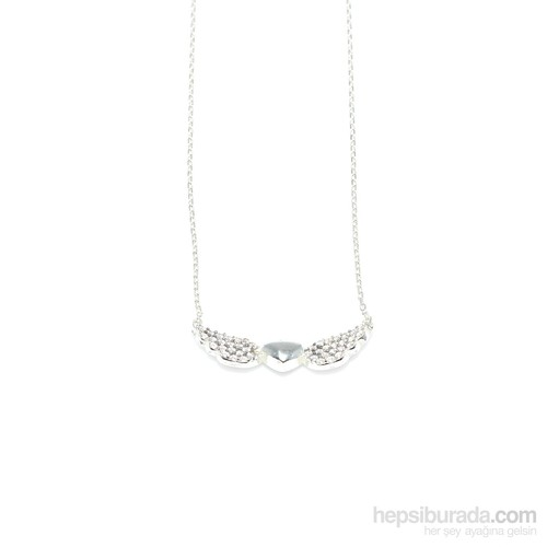 Nusret Takı 925 Ayar Gümüş Kalp Ve Melek Kanadı Kolye Beyaz - Beyaz Taş