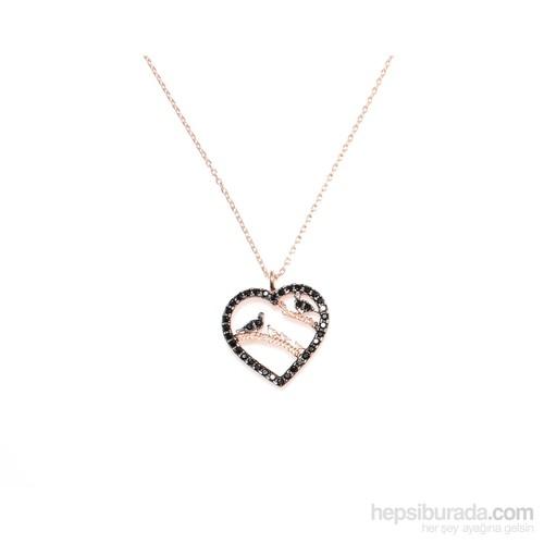 Nusret Takı 925 Ayar Gümüş Kuşlu Kalp Kolye Pembe - Siyah Taş