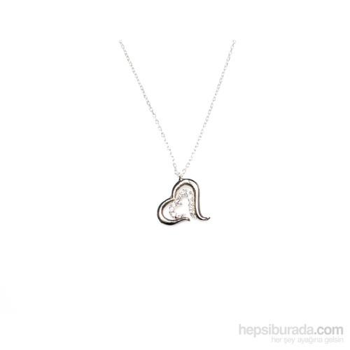 Nusret Takı 925 Ayar Gümüş Birleşen Kalp Kolye Beyaz